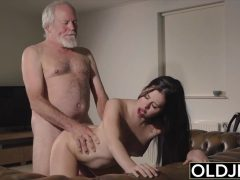 Oldje - Teen mouth fucked hardcore takes cock deepthroat in old young pussy fuck